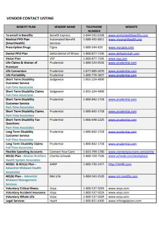 Formal Vendor Contact List