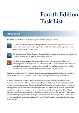 Fourth Edition Task List
