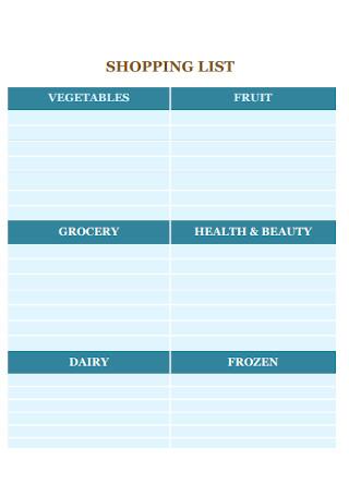 Fruits Shopping Liist Template