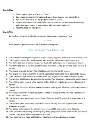 Game of Pipes Action List