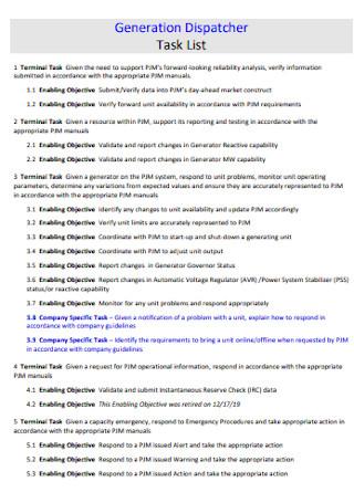 Generation Dispatcher Task List