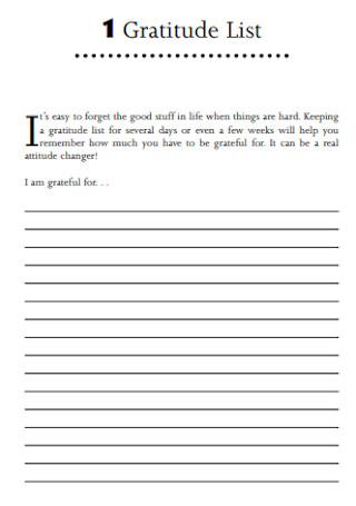 Greatful Gratitude List Template