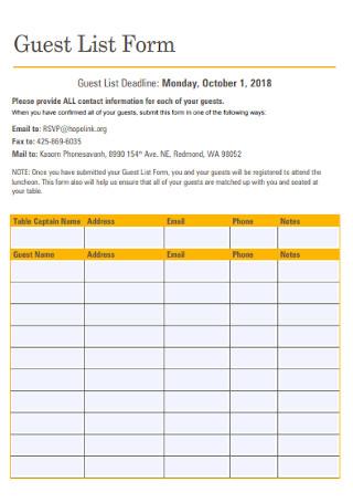 Guest List Form