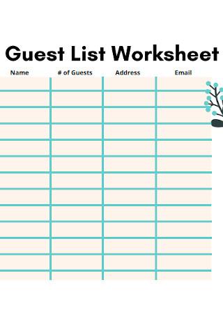 Guest List Worksheet