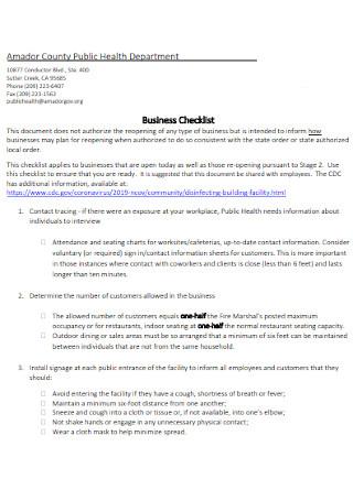 Health Department Business Checklist
