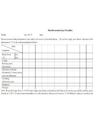 Health Monitoring Checklist