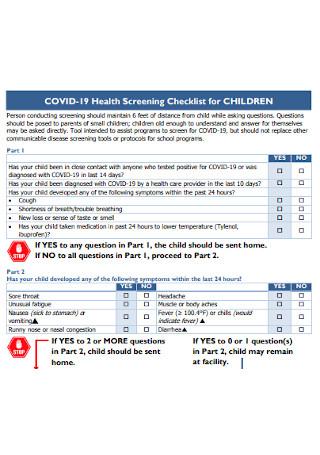 Health Screening Checklist for Children