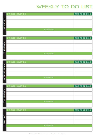 Health Weekly To Do List