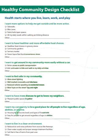 Healthy Community Design Checklist