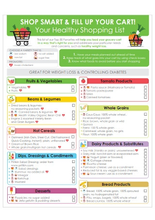 Healthy and Grocery Shopping List