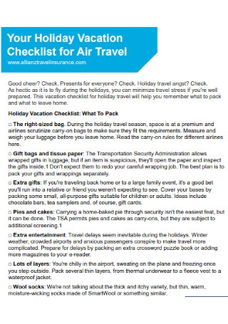 Holiday Vacation Checklist Template