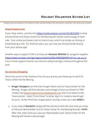 Holiday Volunteer Action List