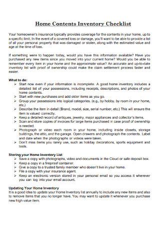 Home Contents Inventory Checklist