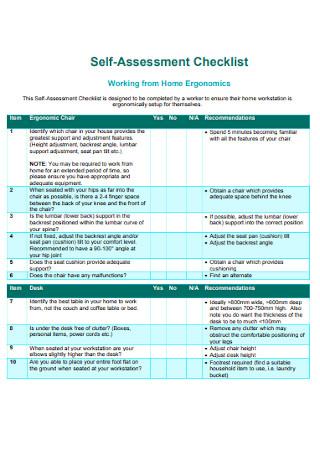 Home Ergonomics Self Assessment Checklist