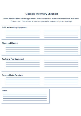 Home Outdoor Inventory Checklist