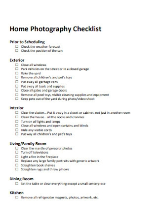 Home Photography Checklist