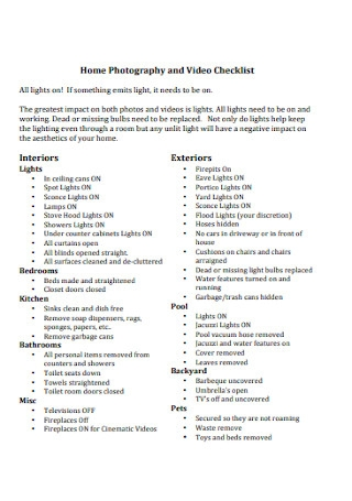 Home Photography and Video Checklist