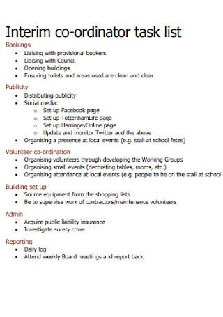 Interim Co Ordinator Task List