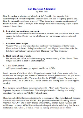 Job Decision Checklist