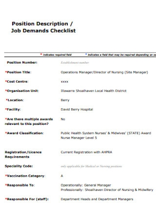 Job Demand Checklist Template