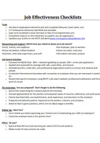 Job Effectiveness Checklists