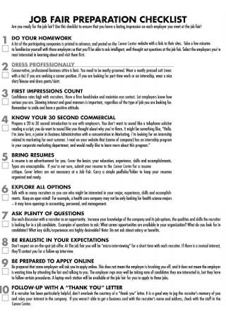 Job Fair Preparation Checklist