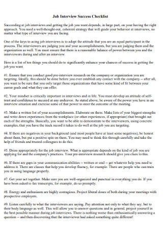 Job Interview Success Checklist1