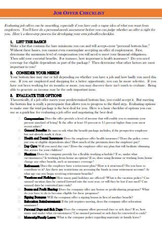 Job Offer Checklist Template