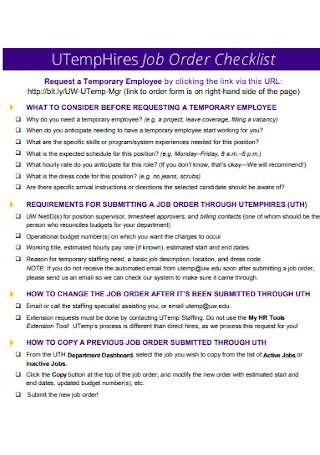 Job Order Checklist Template