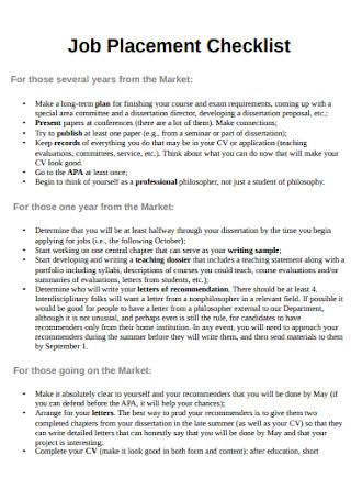 Job Placement Checklist