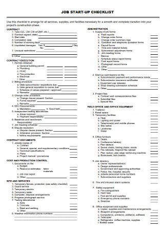 Job Start up Checklist Template