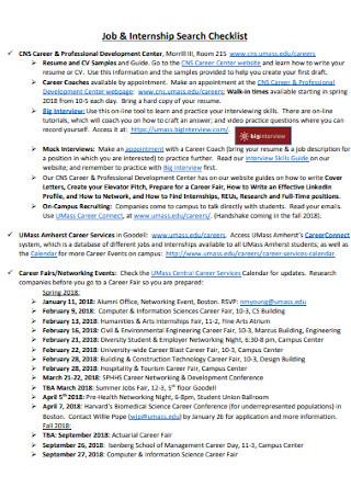 Job and Internship Search Checklist Template