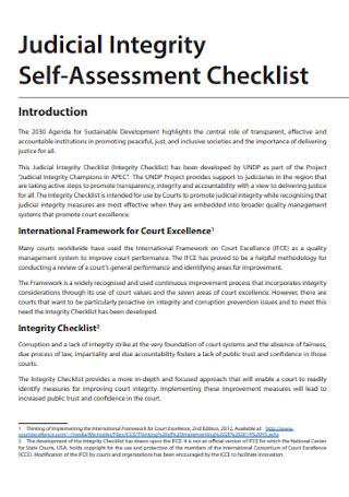 Judicial Integrity Self Assessment Checklist