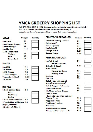 Kitchen Grocery List Template