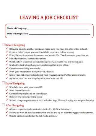 Leaving a Job Checklist Template
