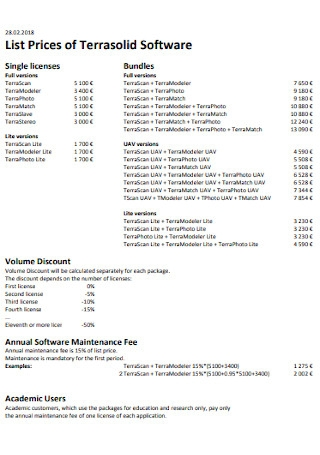 List Prices of Terrasolid Software
