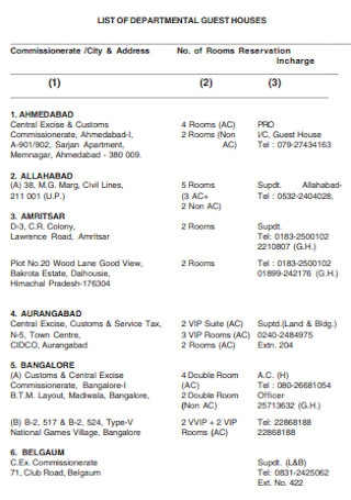 List of Departmental Guest Houses