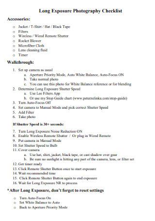 Long Exposure Photography Checklist