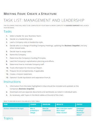 Management Task List Template