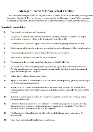 Manager Control Self Assessment Checklist
