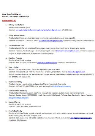 Market Vendor Contact List