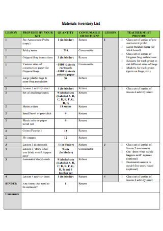 Materials Inventory List