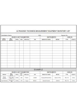 Measurment Equipment Inventory List
