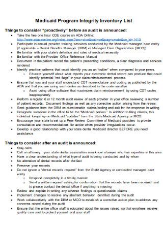 Medicaid Program Integrity Inventory List