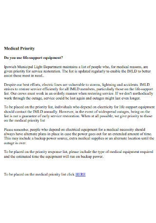 Medical Priority List Template