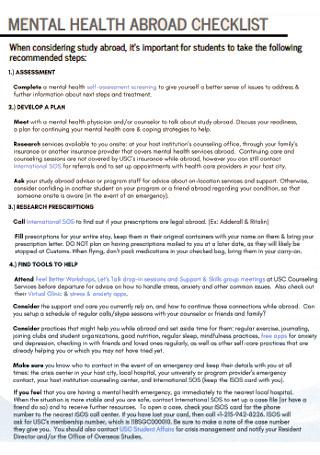 Mental Health Abrosd Checklist