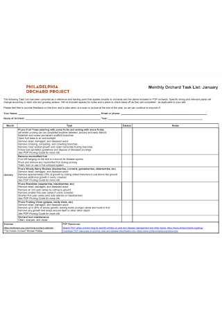 Monthly Orchard Task List