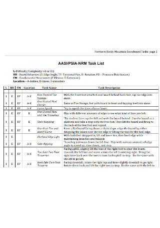 Mountain Snowboard Task List