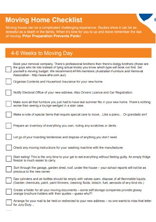Moving Home Inventory Checklist