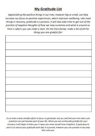 My Gratitude List Format